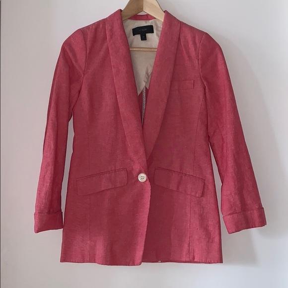 J. Crew pink linen blazer 00 like new XS